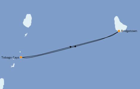 Itinerario del crucero Caribe del Este 6 días a bordo del Royal Clipper