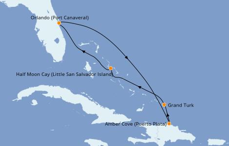 Itinerario del crucero Caribe del Este 6 días a bordo del Carnival Elation