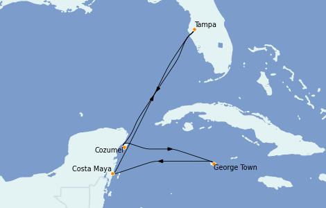 Itinerario del crucero Caribe del Oeste 6 días a bordo del Brilliance of the Seas