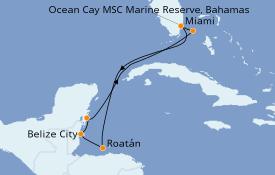 Itinerario de crucero Caribe del Oeste 8 días a bordo del MSC Meraviglia
