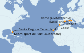 Itinerario de crucero Mediterráneo 15 días a bordo del