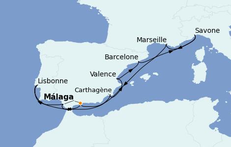 Itinerario del crucero Mediterráneo 10 días a bordo del Costa Diadema