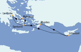 Itinerario de crucero Grecia y Adriático 7 días a bordo del Celebrity Apex