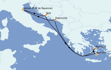 Itinerario del crucero Grecia y Adriático 7 días a bordo del Brilliance of the Seas