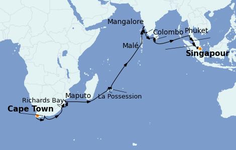 Itinerario del crucero África 28 días a bordo del Seven Seas Mariner