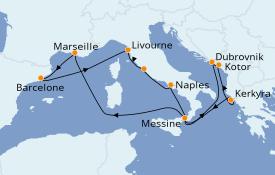 Itinerario de crucero Mediterráneo 13 días a bordo del Carnival Legend