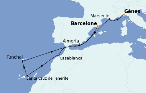 Itinerario del crucero Mediterráneo 10 días a bordo del MSC Poesia