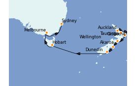 Itinerario de crucero Australia 2022 15 días a bordo del ms Oosterdam