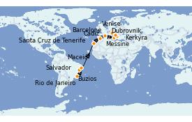 Itinerario de crucero Trasatlántico y Grande Viaje 2022 21 días a bordo del MSC Sinfonia