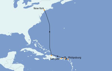 Itinerario del crucero Caribe del Este 6 días a bordo del Norwegian Epic