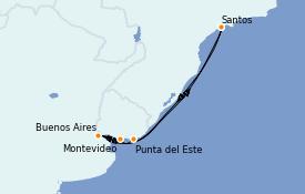 Itinerario de crucero Suramérica 8 días a bordo del MSC Splendida