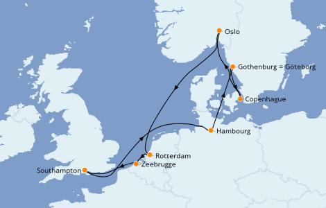 Itinerario del crucero Mar Báltico 10 días a bordo del Island Princess