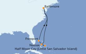 Itinerario de crucero Bahamas 8 días a bordo del Carnival Legend