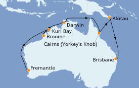 Itinerario de crucero Australia 2020 16 días a bordo del Sapphire Princess