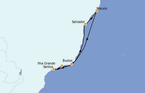 Itinerario del crucero Suramérica 7 días a bordo del MSC Seaside