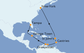 Itinerario de crucero Trasatlántico y Grande Viaje 2022 12 días a bordo del Norwegian Dawn