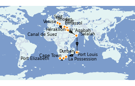 Itinerario de crucero Trasatlántico y Grande Viaje 2021 31 días a bordo del MSC Lirica