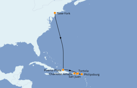 Itinerario del crucero Caribe del Este 7 días a bordo del Norwegian Epic