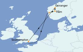 Itinerario de crucero Fiordos y Noruega 8 días a bordo del MSC Magnifica
