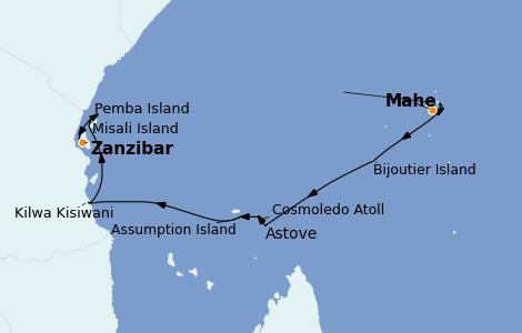 Itinerario del crucero Océano Índico 12 días a bordo del Le Jacques Cartier
