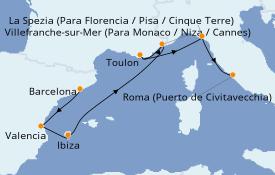 Itinerario de crucero Mediterráneo 8 días a bordo del Celebrity Apex