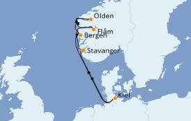 Itinerario de crucero Fiordos y Noruega 8 días a bordo del MSC Splendida