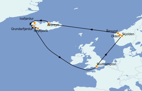 Itinerario del crucero Exploración polar 14 días a bordo del Sky Princess