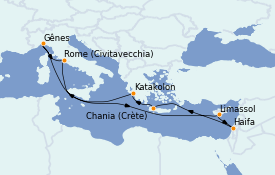 Itinerario de crucero Mediterráneo 12 días a bordo del MSC Lirica