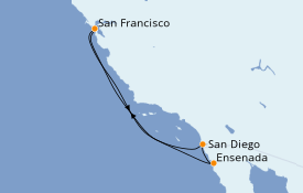 Itinerario de crucero California 6 días a bordo del Ruby Princess