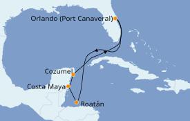 Itinerario de crucero Caribe del Oeste 8 días a bordo del Carnival Mardi Gras