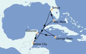 Itinerario de crucero Caribe del Oeste 8 días a bordo del Brilliance of the Seas