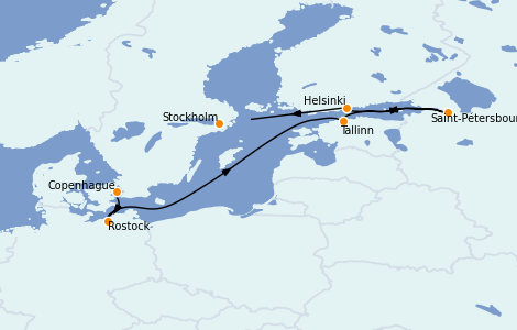 Itinerario del crucero Mar Báltico 7 días a bordo del Seven Seas Splendor