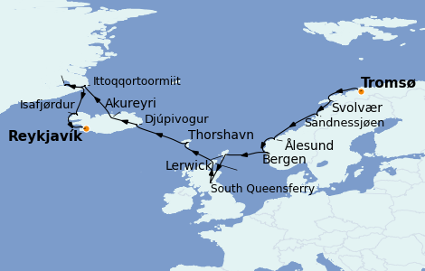 Itinerario del crucero Exploración polar 14 días a bordo del Norwegian Star