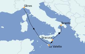 Itinerario de crucero Mediterráneo 5 días a bordo del MSC Seaside