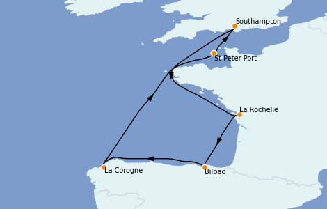 Itinerario del crucero Islas Británicas 7 días a bordo del Sky Princess