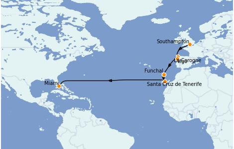 Itinerario del crucero Mediterráneo 14 días a bordo del Carnival Celebration