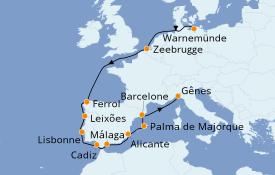 Itinerario de crucero Mediterráneo 14 días a bordo del MSC Poesia
