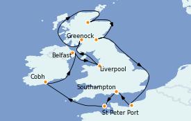 Itinerario de crucero Islas Británicas 13 días a bordo del Sky Princess