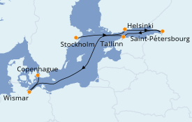 Itinerario de crucero Mar Báltico 8 días a bordo del Seven Seas Splendor