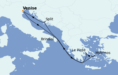 Itinerario del crucero Grecia y Adriático 7 días a bordo del MSC Armonia