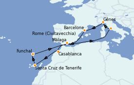 Itinerario de crucero Mediterráneo 12 días a bordo del MSC Splendida