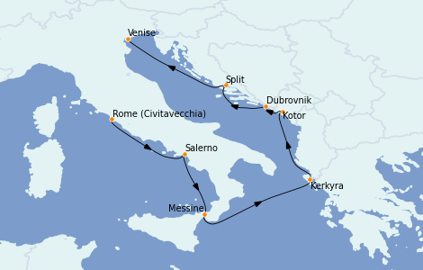 Itinerario del crucero Mediterráneo 7 días a bordo del Riviera