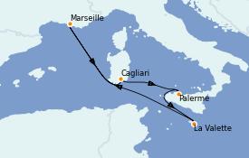 Itinerario de crucero Mediterráneo 7 días a bordo del Costa Diadema
