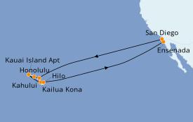 Itinerario de crucero Hawaii 16 días a bordo del Carnival Miracle