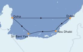 Itinerario de crucero Dubái 8 días a bordo del MSC Bellissima