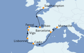Itinerario de crucero Mediterráneo 10 días a bordo del MSC Magnifica