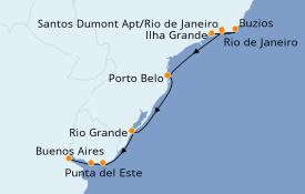 Itinerario de crucero Suramérica 11 días a bordo del Seven Seas Navigator