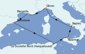 Itinerario de crucero Mediterráneo 8 días a bordo del MSC Fantasia