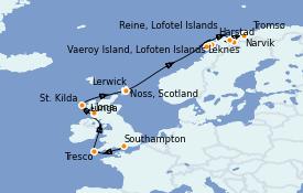 Itinerario de crucero Islas Británicas 14 días a bordo del Silver Wind