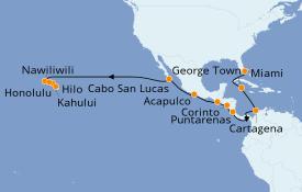 Itinerario de crucero Riviera Mexicana 25 días a bordo del Seven Seas Navigator